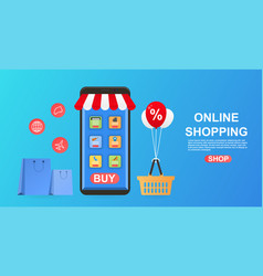 shopping on mobile application vector image