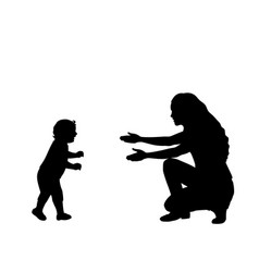 silhouette little son taking first steps vector image
