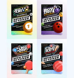 Sport flyer ad set billiard bowling ping pong vector