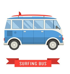Surfing Tourist Summer Bus Icon vector