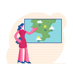 Television anchorwoman at studio forecast weather vector