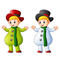 two kids in christmas color vector image
