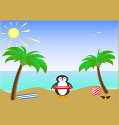 two palm trees and a cute smiling penguin wearing vector image