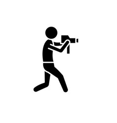video operator black icon sign on isolated vector image