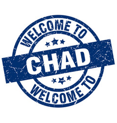 Welcome to chad blue stamp vector