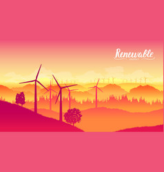 windmill farm on a beautiful bright day vector image