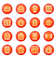 window design icons set red vector image