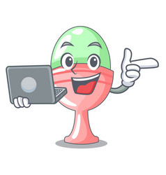 With laptop boiled egg cup isolated on mascot vector