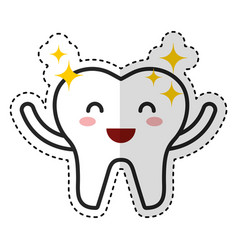 happy healthy tooth character icon vector image vector image