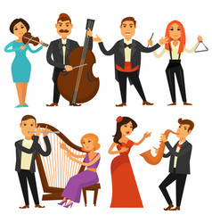 orchestra singers and musicians or music vector image