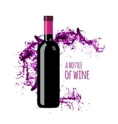 Red wine splash with bottle vector image