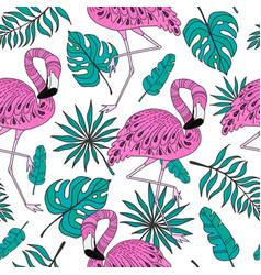 seamless pattern with flamingo exotic leaves vector image