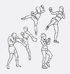 thai boxing sport hand drawing vector image