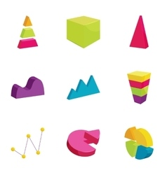 Colorful chart icons set cartoon style vector image vector image