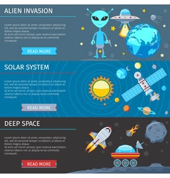 Colorful Space And Astronomy Flat Banners Set vector image