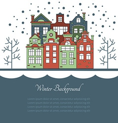 Design of greeting card with houses in winter vector image