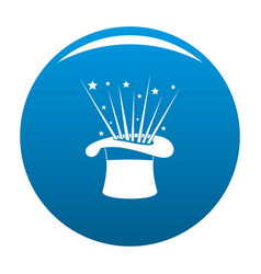 Hat and firework icon blue vector