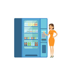 young woman standing next to automatic vending vector image