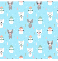 christmas seamless pattern with cartoon bear and vector image vector image
