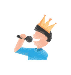 drawing guy party singing vector image vector image