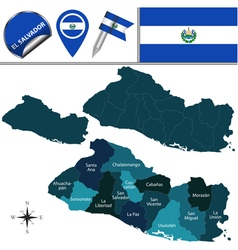 El Salvador map with named divisions vector image vector image