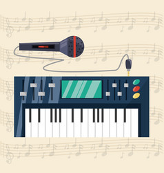 electric keyboard with microphone concept music vector image