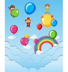 happy children on colorful balloons in the sky vector image vector image