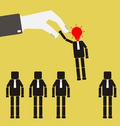 recruitment concept businessman choosing worker vector image