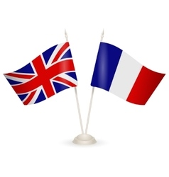 Table stand with flags of England and France vector image