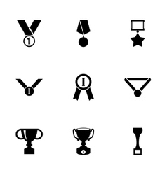 black trophy and awards icon set vector image