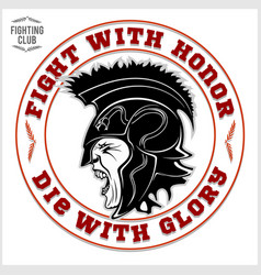 gladiator logo with spear and shield vector image
