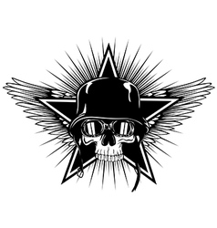 skull in goggles and helmet star and wings vector image vector image