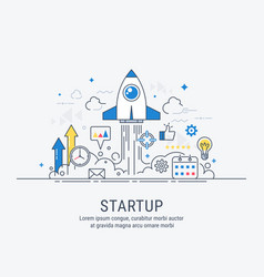 startup concept with thin line flat modern design vector image vector image