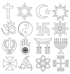 world religions symbols set of outline icons eps10 vector image vector image
