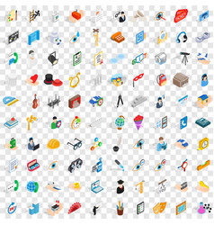 100 work space icons set isometric 3d style vector image