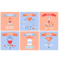 26 june international drug abuse day banners set vector image