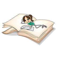 A big book with a young girl reading vector image