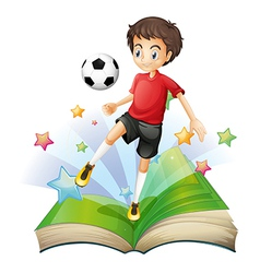 A book with a boy playing football vector image