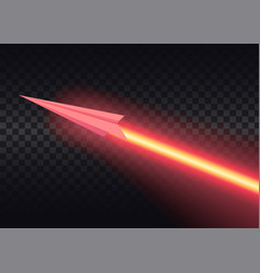 aircraft flies and leaves bright glowing laser vector image