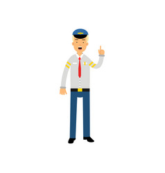 Airline pilot in uniform standing with open mouth vector