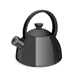 An isolated black tea kettle on a white background vector image