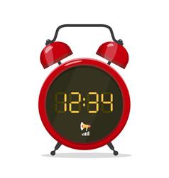 analog style alarm clock with digital display vector image