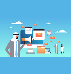 Arabic businessman holding megaphone email vector
