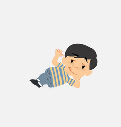 asian boy in jeans doing the ok sign with his hand vector image