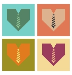 Assembly flat icons heart tie vector