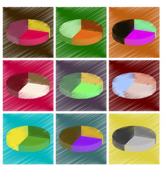 assembly flat shading style icons pie chart vector image