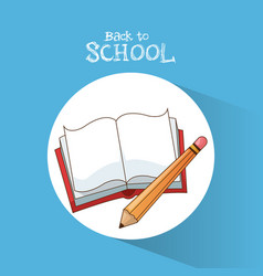 back to school book pencil learning write poster vector image