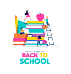 Back to school concept of kids playing with books vector