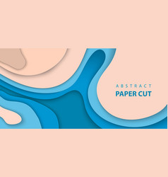 background with blue and beige color paper cut vector image