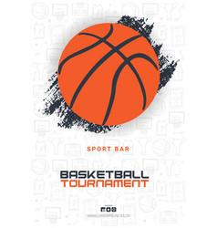 basketball tournament banner with basketball ball vector image